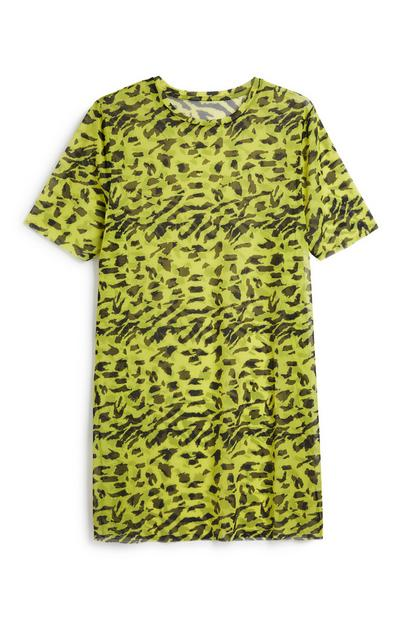 Neon Print Mesh T-Shirt Dress