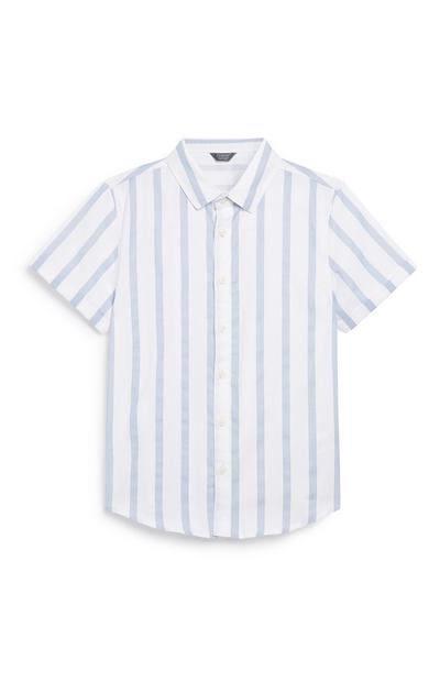 Older Boy Stripe White Shirt