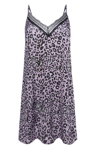 Lilac Animal Print Slip Dress