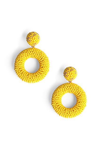 Yellow Beaded Earring