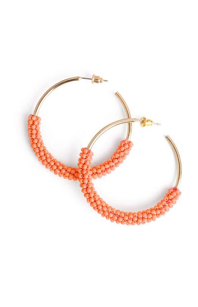 Orange Beaded Hoop