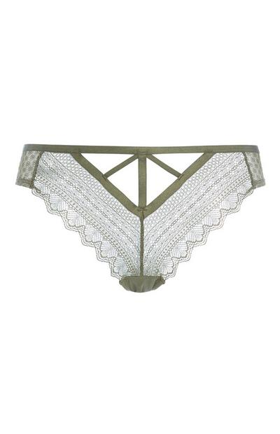 Khaki Lace Brief
