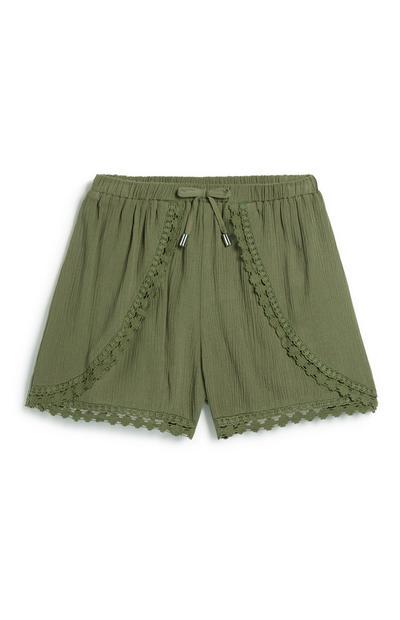 Older Girl Khaki Crochet Short