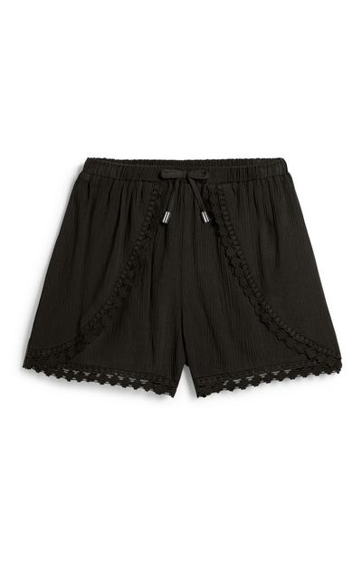 Older Girl Black Crochet Short