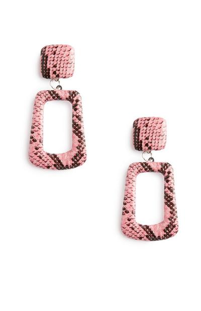 Pink Snake Print Earrings