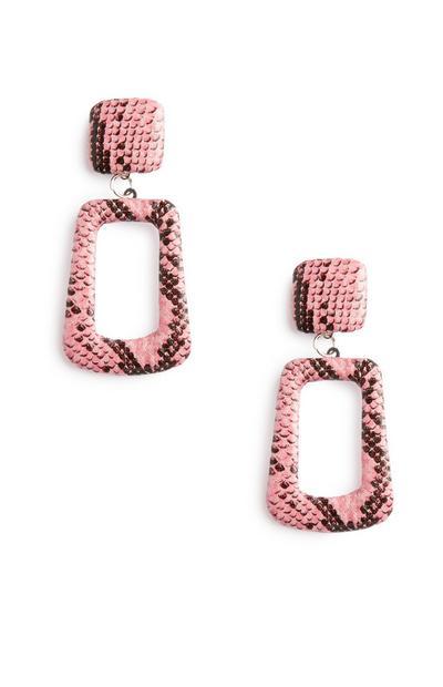 Pink Snake Print Earrings