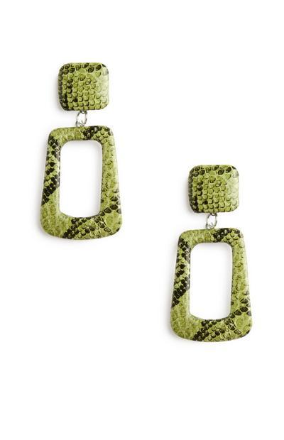 Snake Print Green Earrings