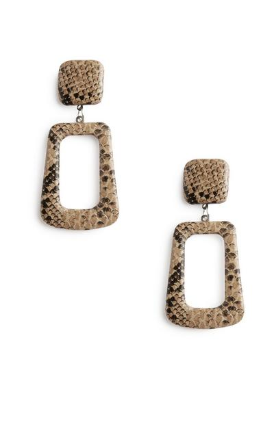 Brown Snake Print Earrings