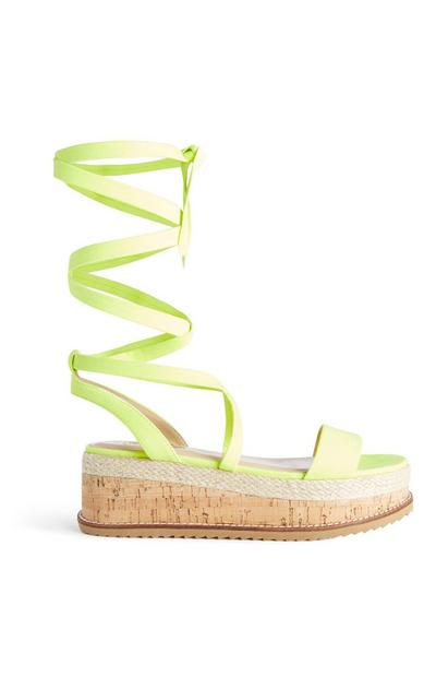 Neon Yellow Tie Up Flatform Sandal