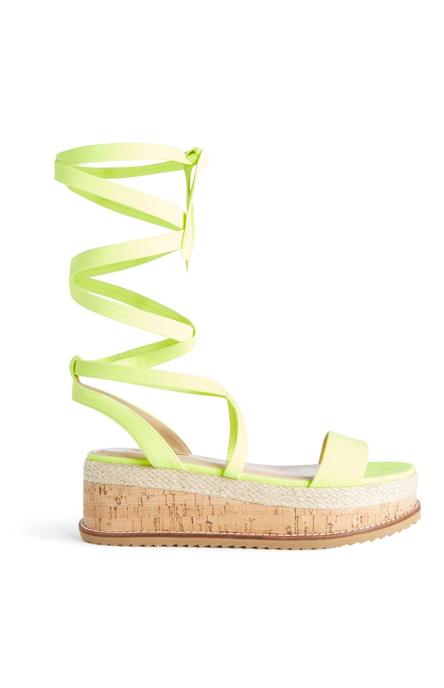 Neon Yellow Tie Up Flatform Sandal