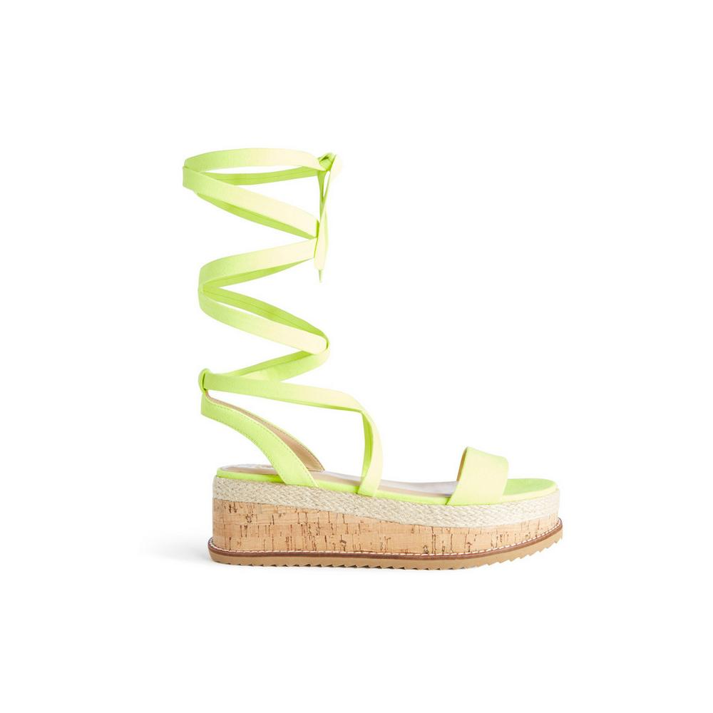 5b378ab575d2 Neon Yellow Tie Up Flatform Sandal | Heels | Shoes boots | Womens ...