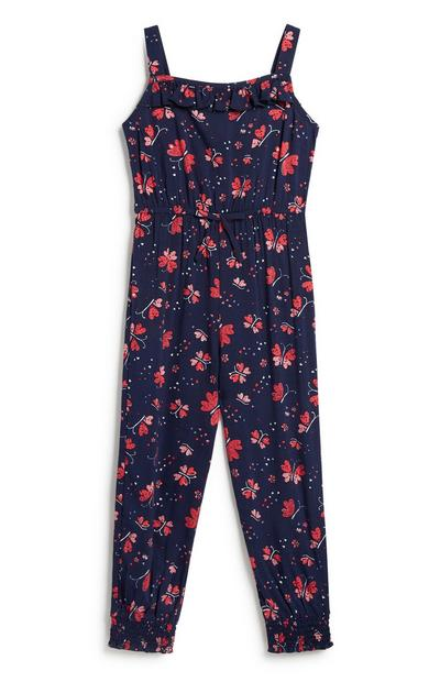 Younger Girl Floral Jumpsuit