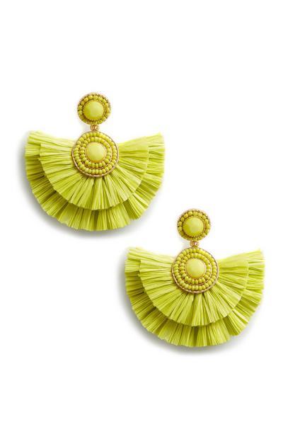 Lime Green Straw Tassle Earings