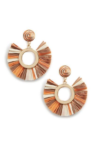 Orange Straw Tassle Earings