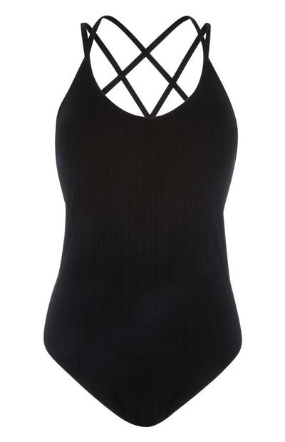 Black Ribbed Swimsuit