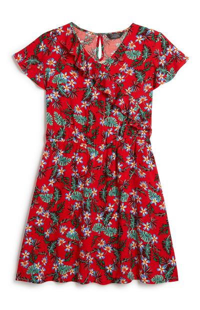 Older Girl Floral Ruffle Dress