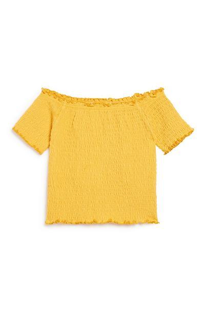 Older Girl Mustard Bardot Top