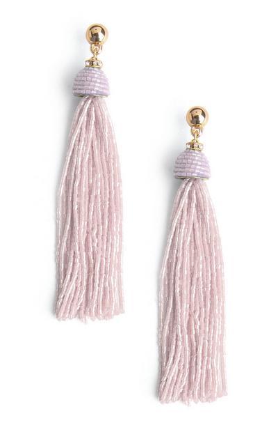 Blush Beaded Tassel Earring