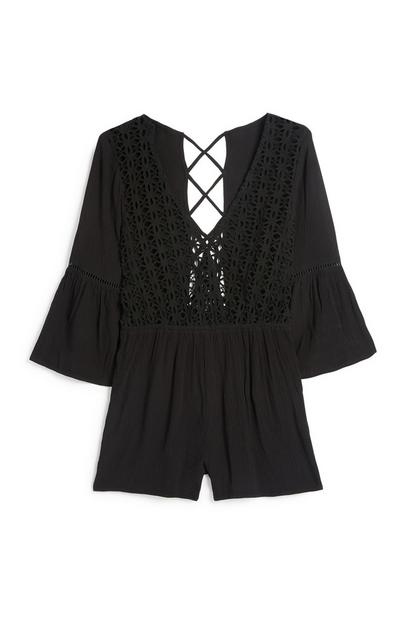 Black Crochet Playsuit