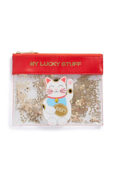 Red Lucky Cat Pencil Case