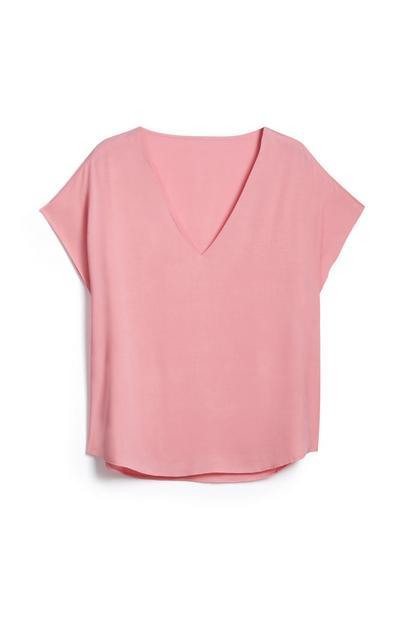 Pink V Neck T Shirt
