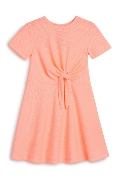 Baby Girl Neon Tie Front Dress