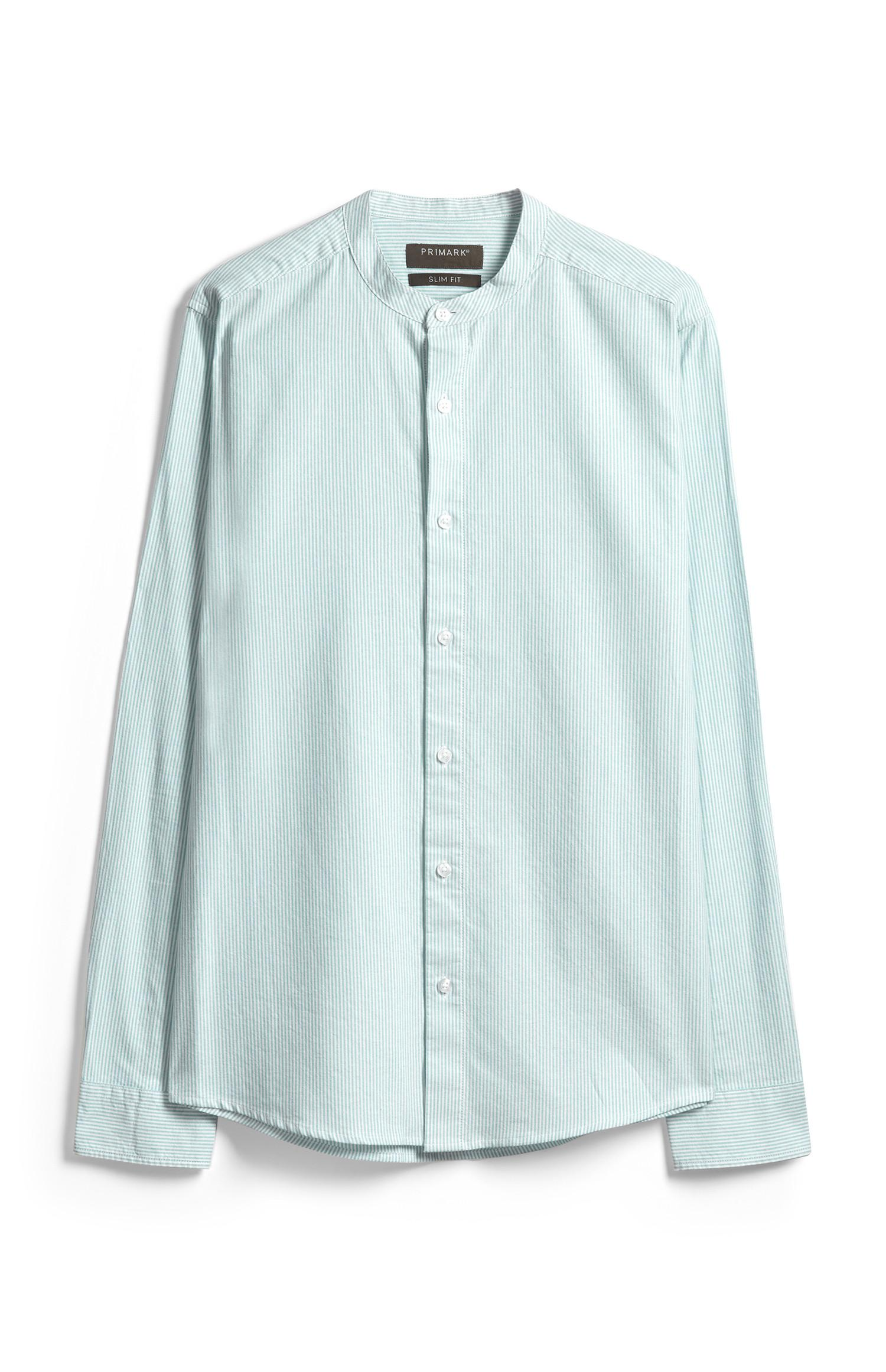 Green Striped Banded Collar Shirt