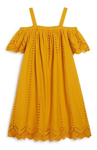 Older Girl Mustard Bardot Dress