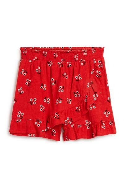 Older Girl Red Ruffle Skort