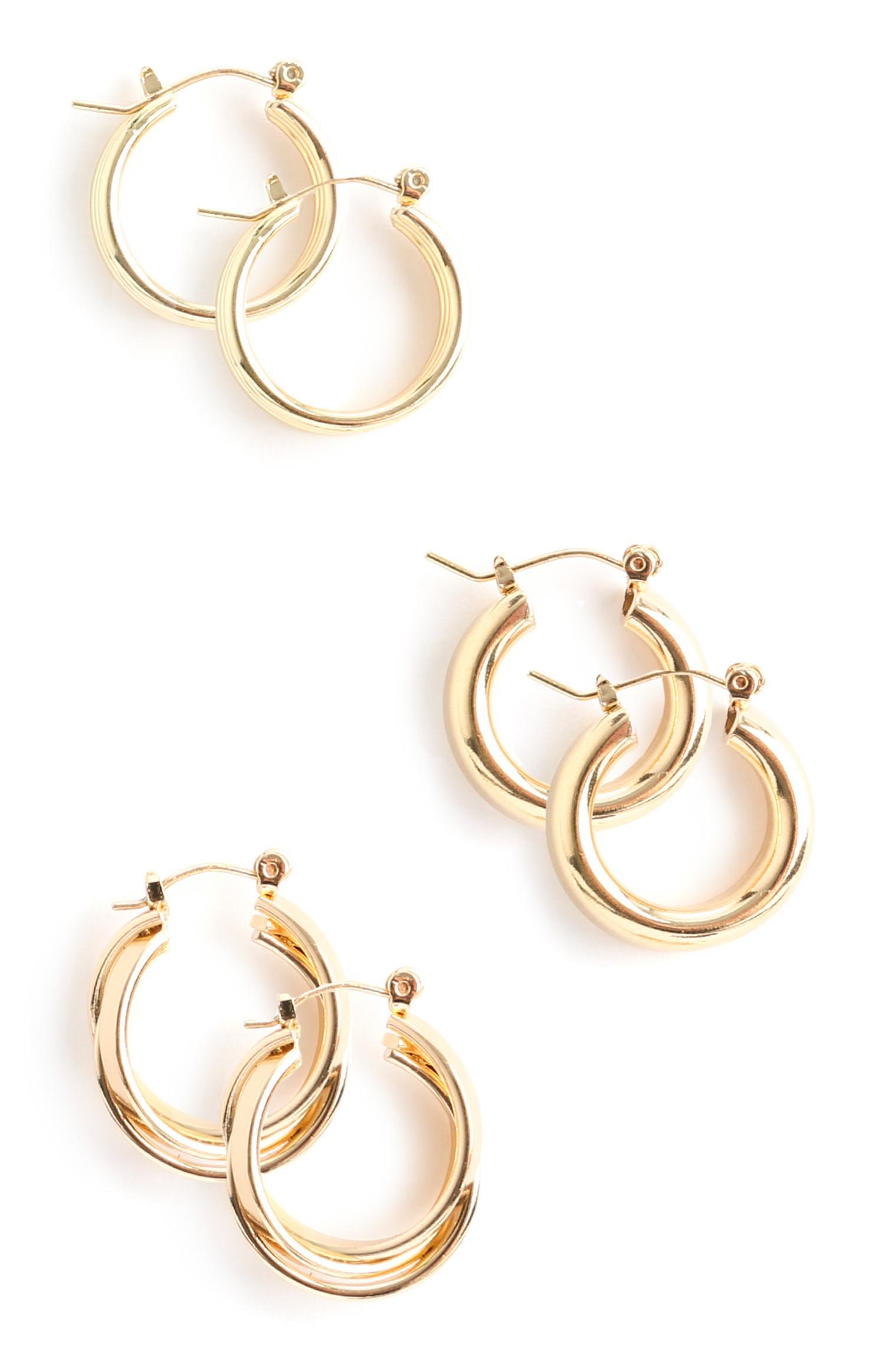 3 paia di orecchini a cerchio