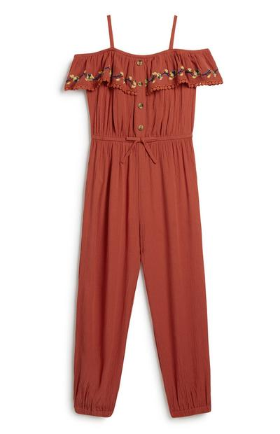 Younger Girl Embroidered Jumpsuit