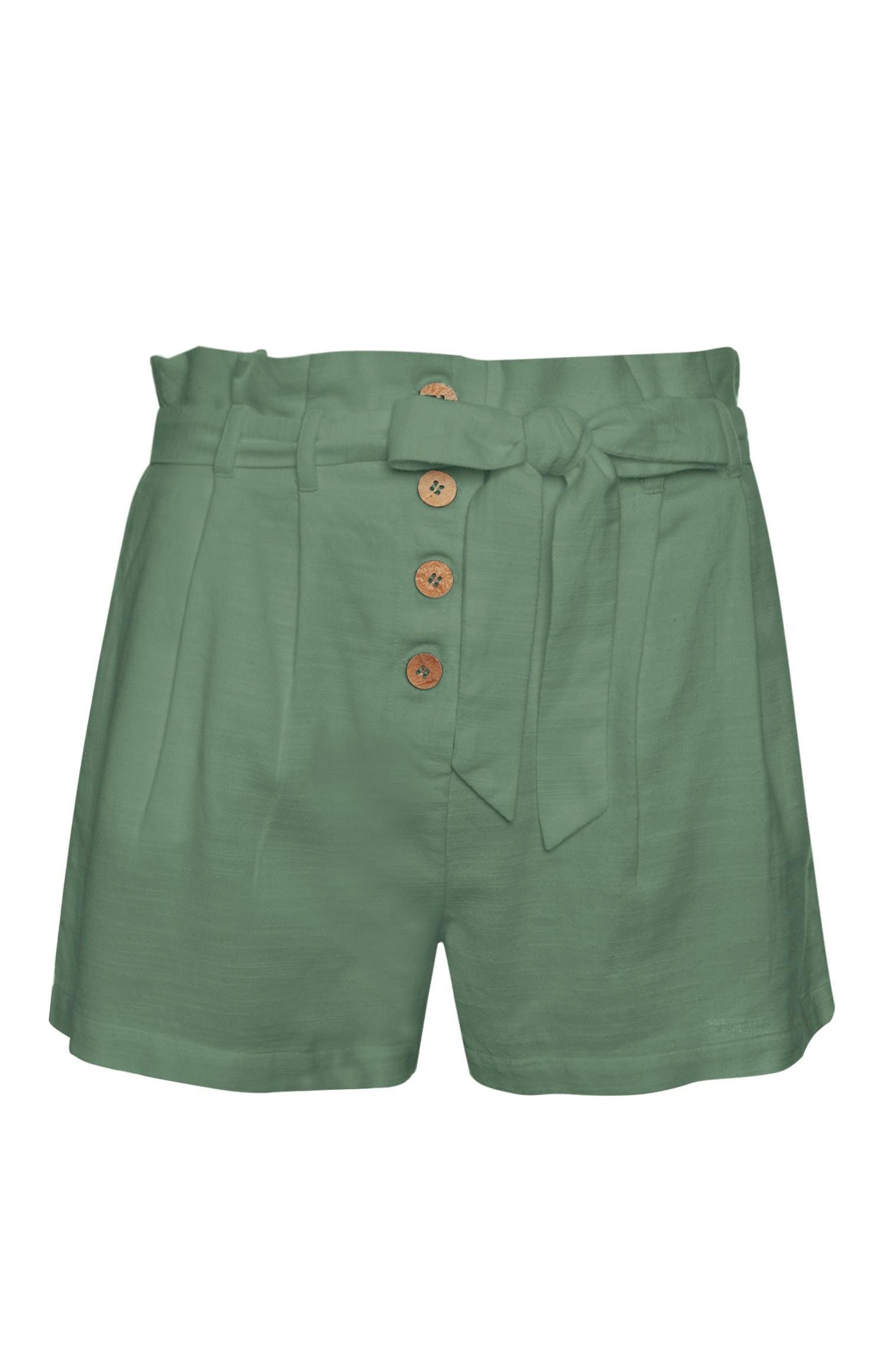 Green Linen Ruffle Shorts