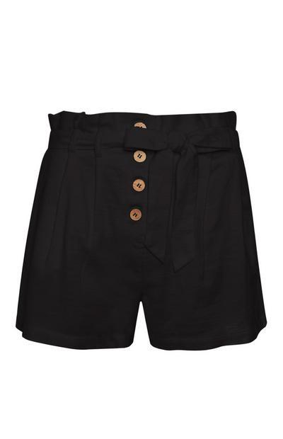 Black Linen Frill Short
