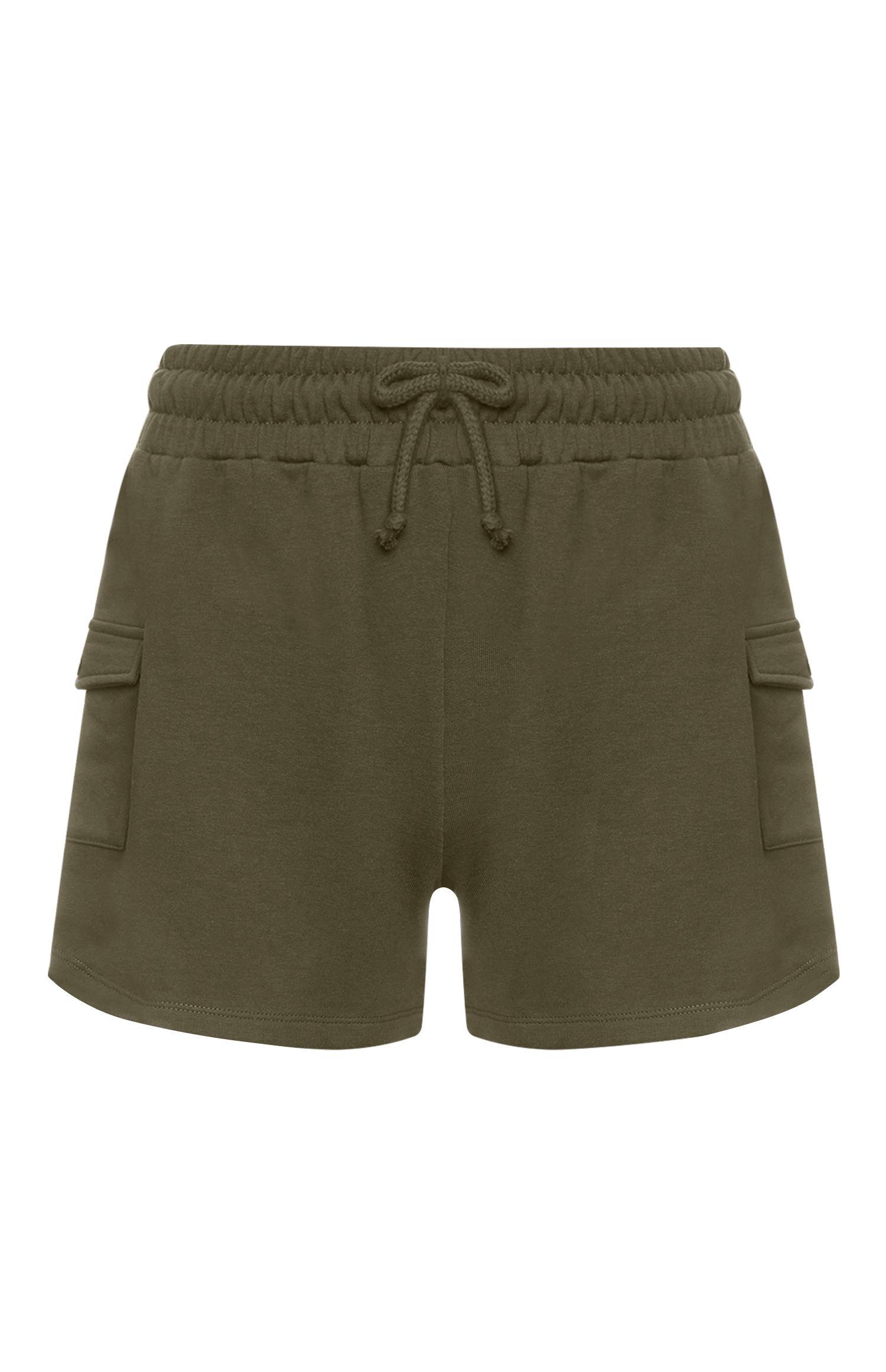 Khakifarbene Utility-Shorts