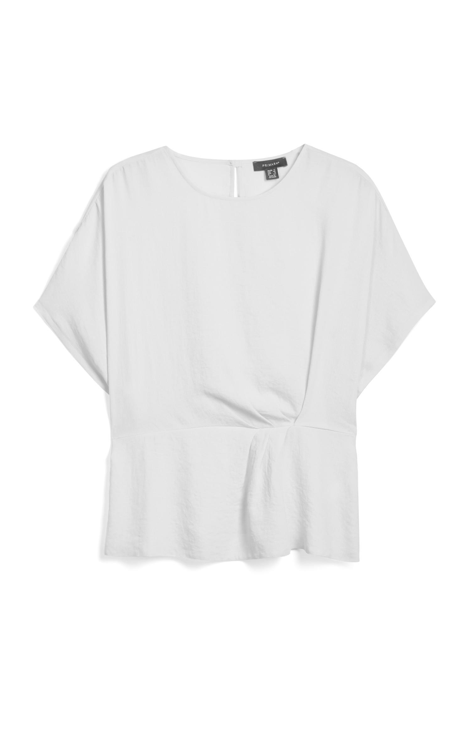 Drapiertes T-Shirt in Weiß