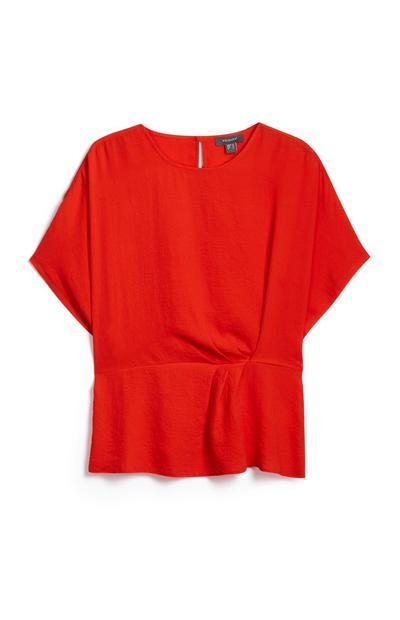 Red Side Twist Shirt