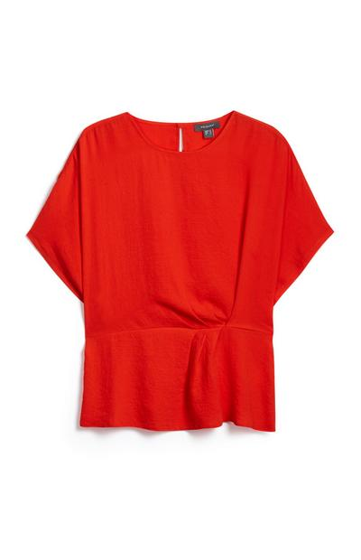 Red Side Twist Shirt