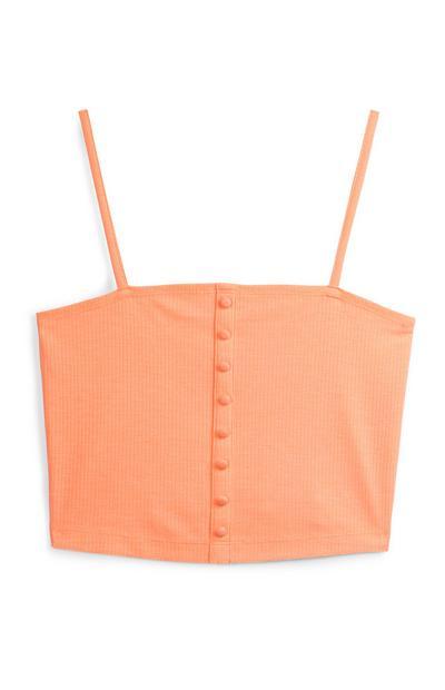 Orange Button Cami Top
