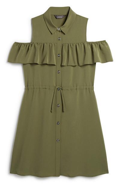 Older Girl Khaki Dress
