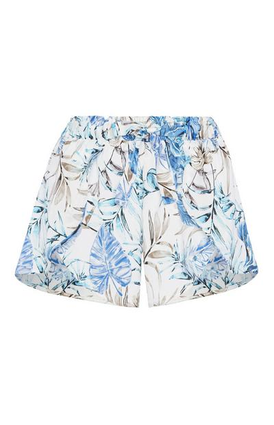 Blue Floral Satin Pyjama Short