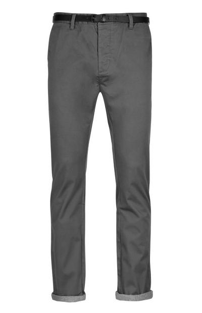 Charcoal Belted Chino