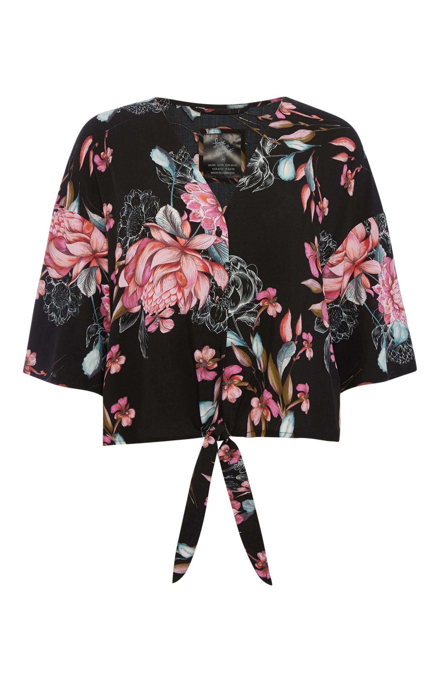 Camicia del pigiama scura a fiori