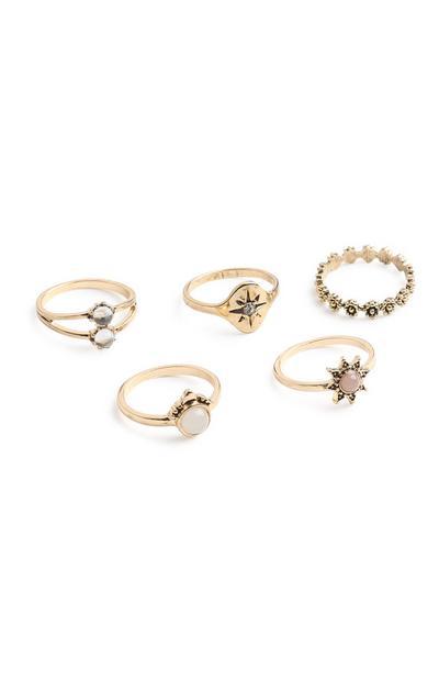 Stone Ring 5Pk