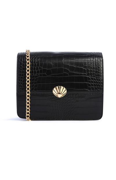 Black Croc Shell Bag