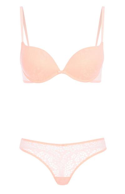 Coral Lace Underwear Set