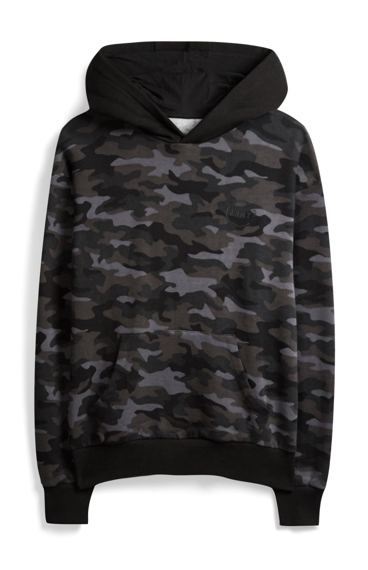 Grijze hoodie met camouflageprint