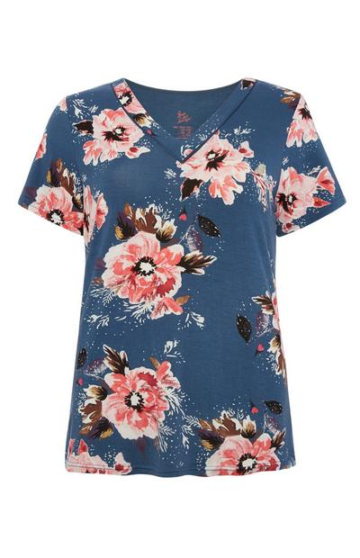 Blue Poppy Pyjama Top