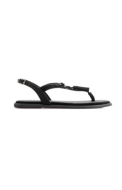 Black Tassel Sandal