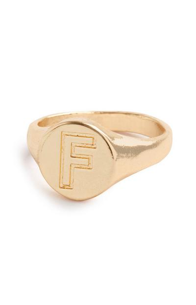 Gold F Initial Soverign Ring