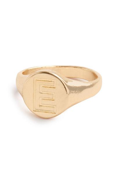 Gold E Initial Soverign Ring